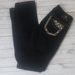 Antique Rivet black embelished skinny Jean's sz 25